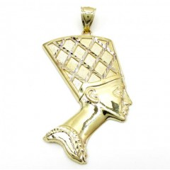 10k Yellow Gold Two Tone Nefertiti Large Pendant