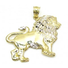 10k Yellow Gold Mini Two Tone Lion Pendant