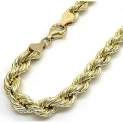 10k Yellow Gold Medium Rope Bracelet 8.5 Inch 6.2mm