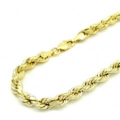 10k Yellow Gold Skinny Hollow Rope Bracelet 8.5 Inch 3.6mm