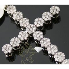 2.30ct Unisex 14k White Gold Round Cluster Diamond Cross