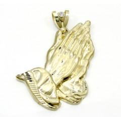 10k Yellow Gold Large Praying Hands Pendant 0.10ct
