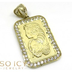 10k Yellow Gold Gold Bar Meduim Pendant 0.50ct