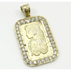 10k Yellow Gold Mini Gold Bar Pendant 0.10ct