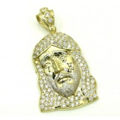 10k Yellow Gold Medium Jesus Face Cz Pendant 1.50ct