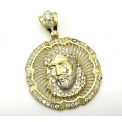 10k Yellow Gold Jesus Face Halo Pendant 1.10ct