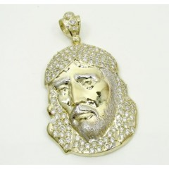 10k Yellow Gold Medium Jesus Face Cz Pendant 2.00ct