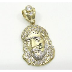 Mens 10k Two Tone Cz Mini Jesus Head Pendant 0.50ct