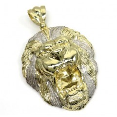 10k Yellow Gold Large Two Tone 3d Lion Head Pendant