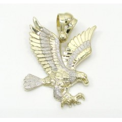 Mens 10k Yellow Gold Medium Two Tone Flying Eagle Pendant