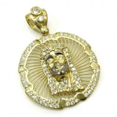 10k Yellow Gold Mini Jesus Halo Pendant 1.10ct