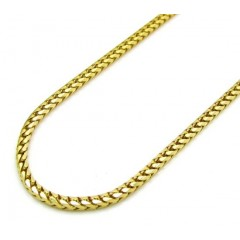 10k Yellow Gold Solid Skinny Franco Link Chain 24-26 Inch 1.5mm