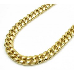 10k Yellow Gold Hollow Cuban Miami Chain 20-30 Inch 6mm