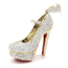 14k Yellow Gold Red Bottom Stiletto Heel Shoe 2.90ct