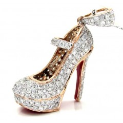 14k Rose,white, Yellow Gold Red Bottom Stiletto Heel Shoe 1.96ct