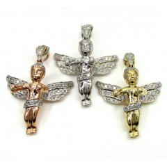 10k Yellow, White, And Rose Gold Diamond Mini Angel Pendants .60ct