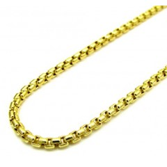 10k Yellow Gold Skinny Venetian Box Chain 18-22 Inch 2.0mm