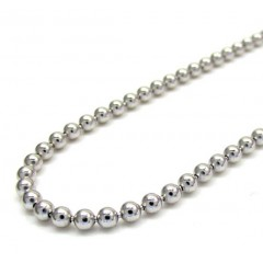 10k White Gold Smooth Bead Link Chain 24-26 Inch 2.3mm