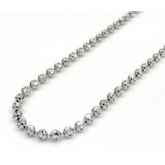 10k White Gold Moon Cut Skinny Bead Link Chain 22-30 Inch 2.0mm