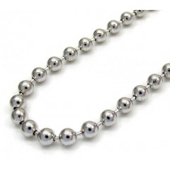 10k White Gold Smooth Bead Link Chain 24-26 Inch 3.0mm