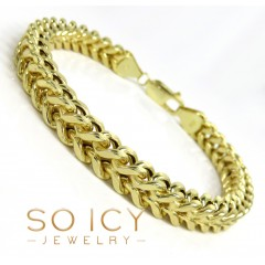10k Yellow Gold Wide Franco Bracelet 8 Inch 7mm
