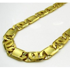 10k Yellow Gold Thick Solid Tiger Eye Chain 30 Inch 9.9mm