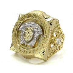 10K Yellow Gold Large Medusa Head Ring .20CT