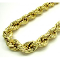 10k Yellow Gold Thick Smooth Hollow Rope Chain 24-30 Inch 10.0mm