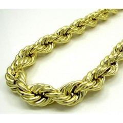 10k Yellow Gold Thick Smooth Hollow Rope Chain 26-28 Inch 9mm