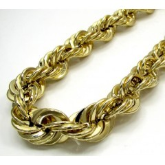 10k Yellow Gold Super Xl Smooth Hollow Rope Chain 30-36 Inch 15mm