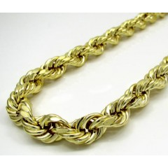 10k Yellow Gold Thick Smooth Hollow Rope Chain 24 Inch 8.8mm