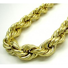 10k Yellow Gold Thick Smooth Hollow Rope Chain 24-28 Inch 12mm