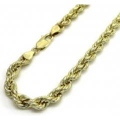 10k Yellow Gold Smooth Hollow Rope Bracelet 8.50 Inch 5.00mm