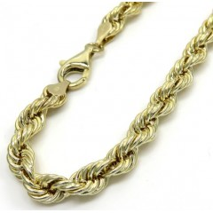 10k Yellow Gold Smooth Hollow Rope Bracelet 9 Inch 5.50mm