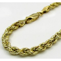 10k Yellow Gold Skinny Smooth Hollow Rope Bracelet 8 Inch 3mm