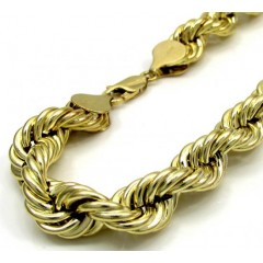 10k Yellow Gold Thick Smooth Hollow Rope Bracelet 8.5 Inch 8mm