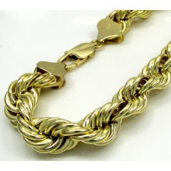 10k Yellow Gold Thick Diamond Cut Hollow Rope Bracelet 8.50 Inch 9mm