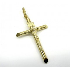10k Yellow Gold Medium Jesus Tube Cross Pendant