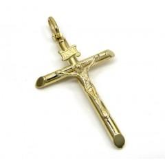 10k Yellow Gold Small Jesus Tube Cross Pendant
