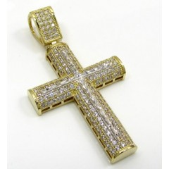10k Yellow Gold Small Two Tone Cross Pendant 1.50ct
