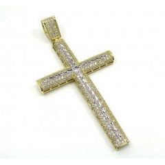 10k Yellow Gold Large Two Tone Cross Pendant 1.75ct