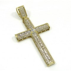 10k Yellow Gold Medium Two Tone Cross Pendant 1.60ct