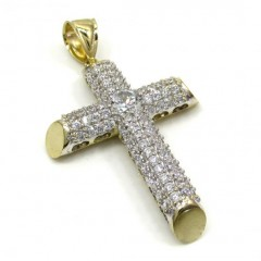 10k Yellow Gold Medium Two Tone Tube Cross Pendant 1.40ct