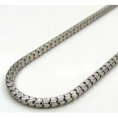10k White Gold Fancy Diamond Cut Box Chain 22 Inch 1.5mm