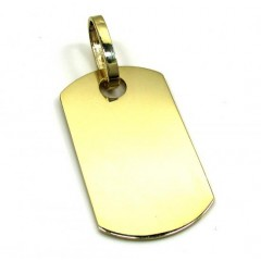 10k Yellow Gold Small Solid Dog Tag Pendant