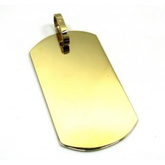 10k Yellow Gold Large Dog Tag Pendant
