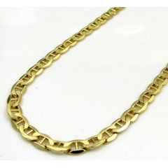10k Yellow Gold Puffed Mariner Chain 18-22 Inch 4mm