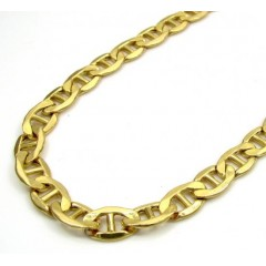 10k Yellow Gold Puffed Mariner Chain 22 Inch 5.2mm