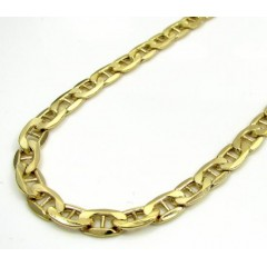10k Yellow Gold Puffed Mariner Chain 24-30 Inch 4.7mm