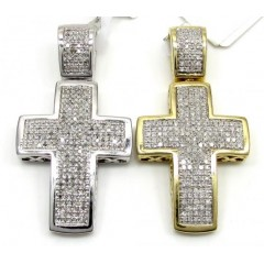 10k Yellow And White Gold Mini Diamond Cross 0.65ct